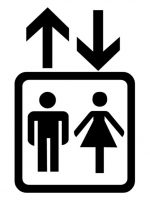 icon for man&woman going up and/or down in an elevator