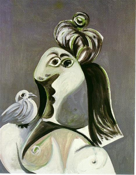 woman with bird by Pablo Picasso